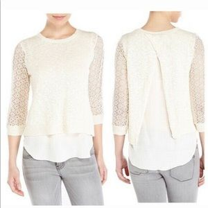 Lucky Brand Crochet and Sheer Top sz Small